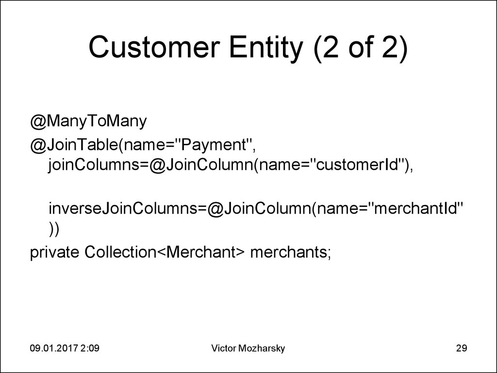Customer Entity (2 of 2)