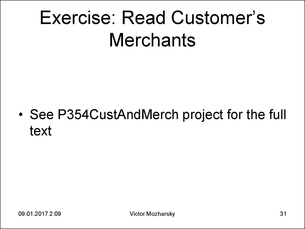 Exercise: Read Customer's Merchants