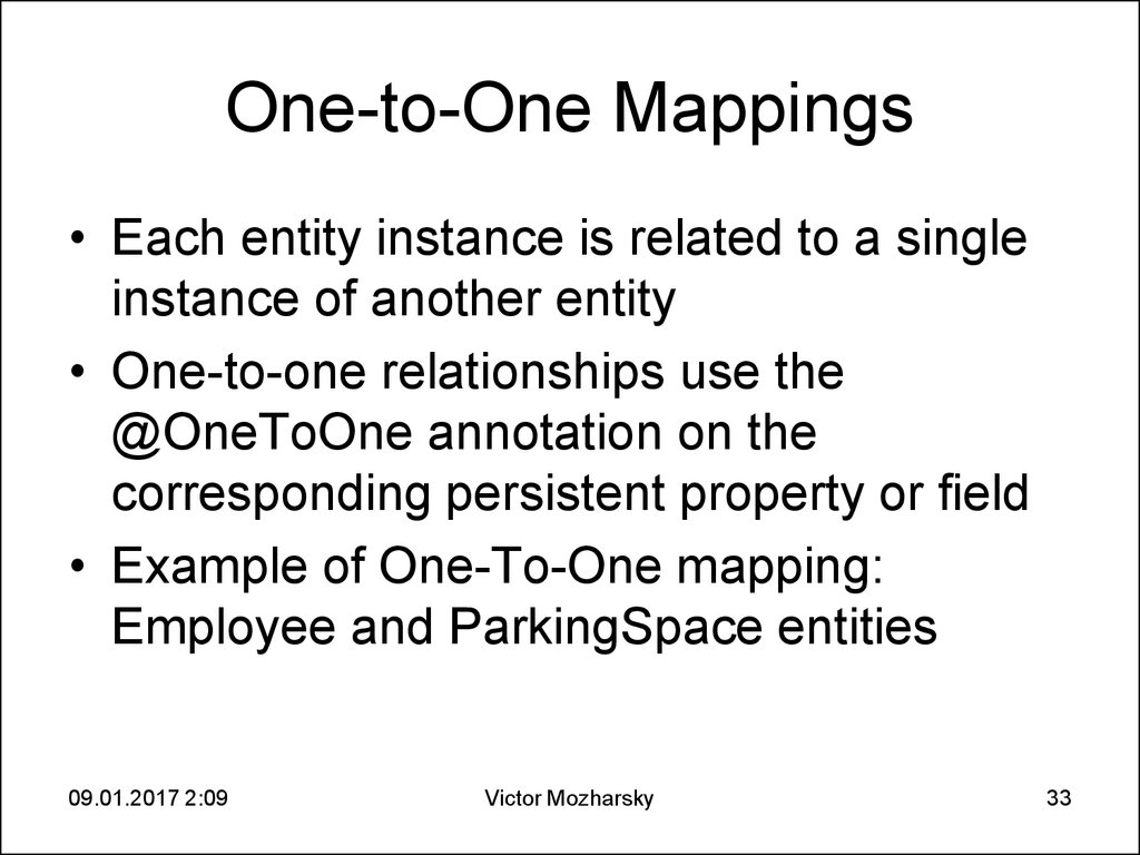One-to-One Mappings