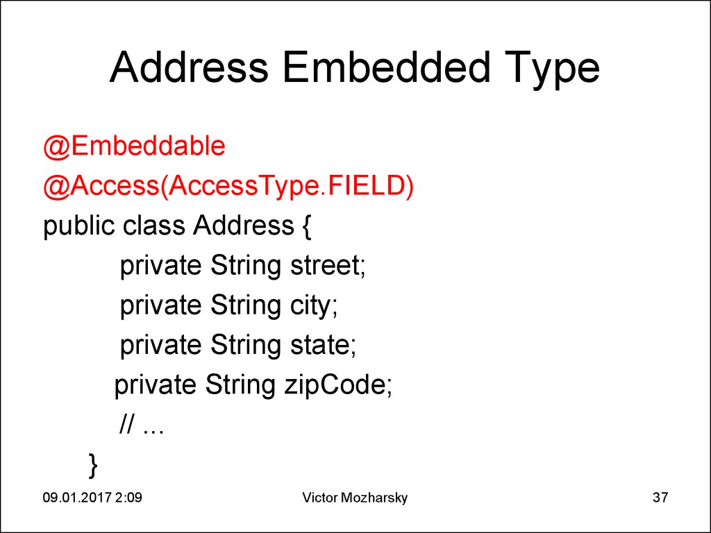 Address Embedded Type