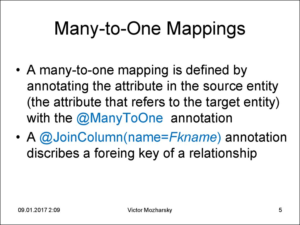 Many-to-One Mappings