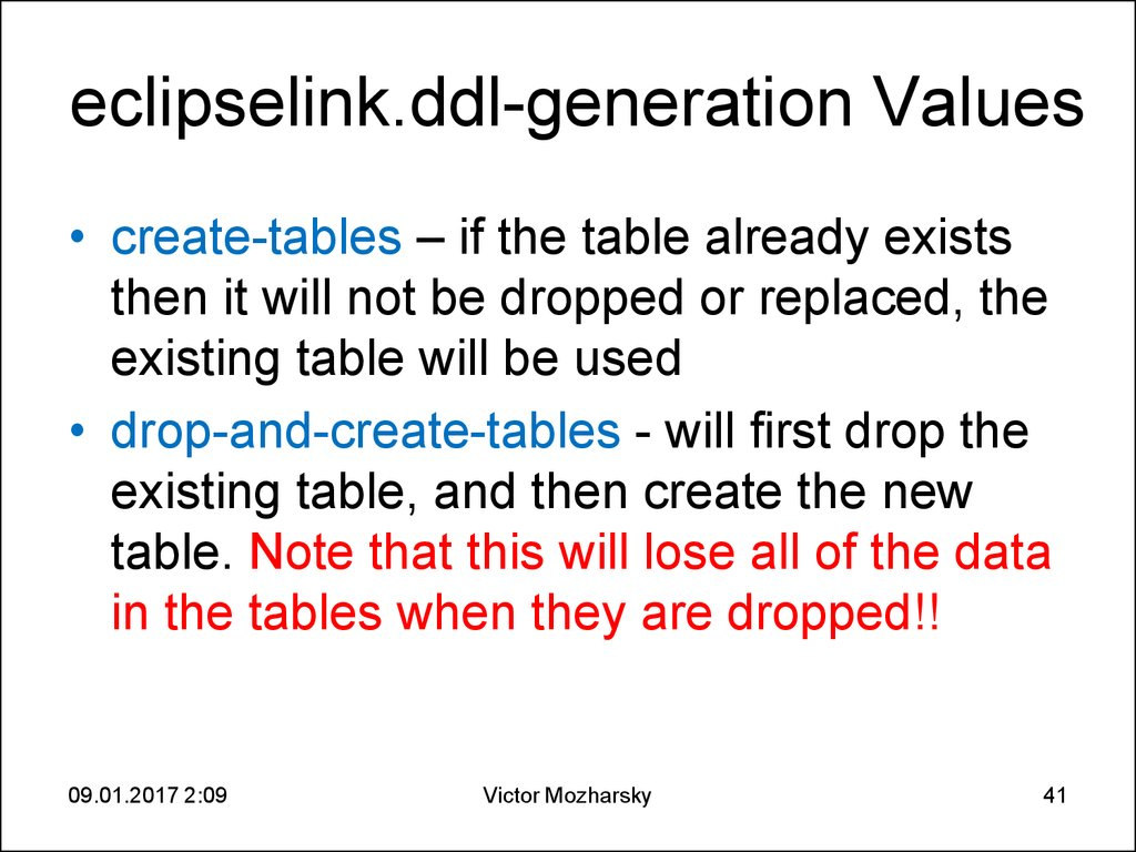 eclipselink.ddl-generation Values