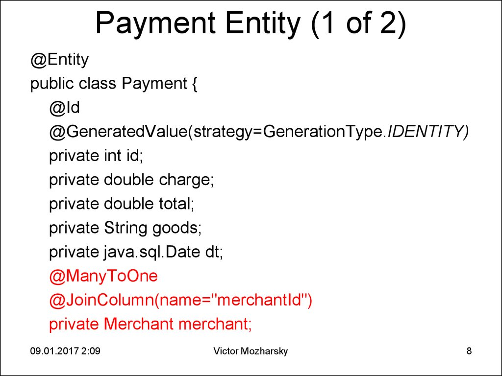 Payment Entity (1 of 2)