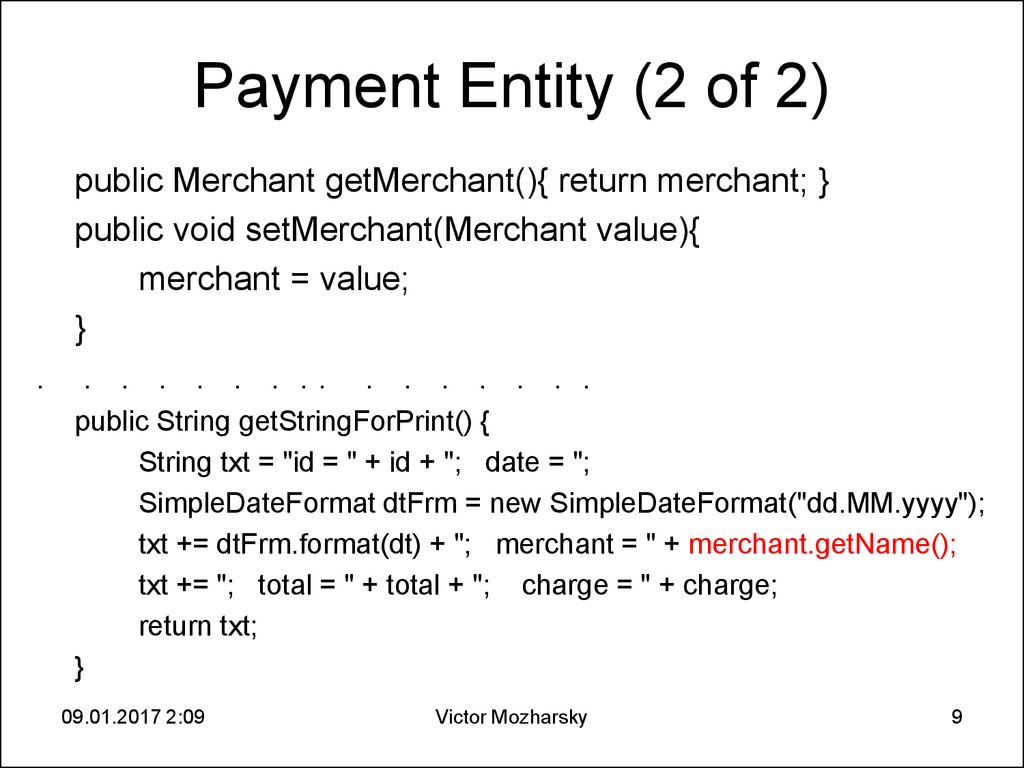 Payment Entity (2 of 2)