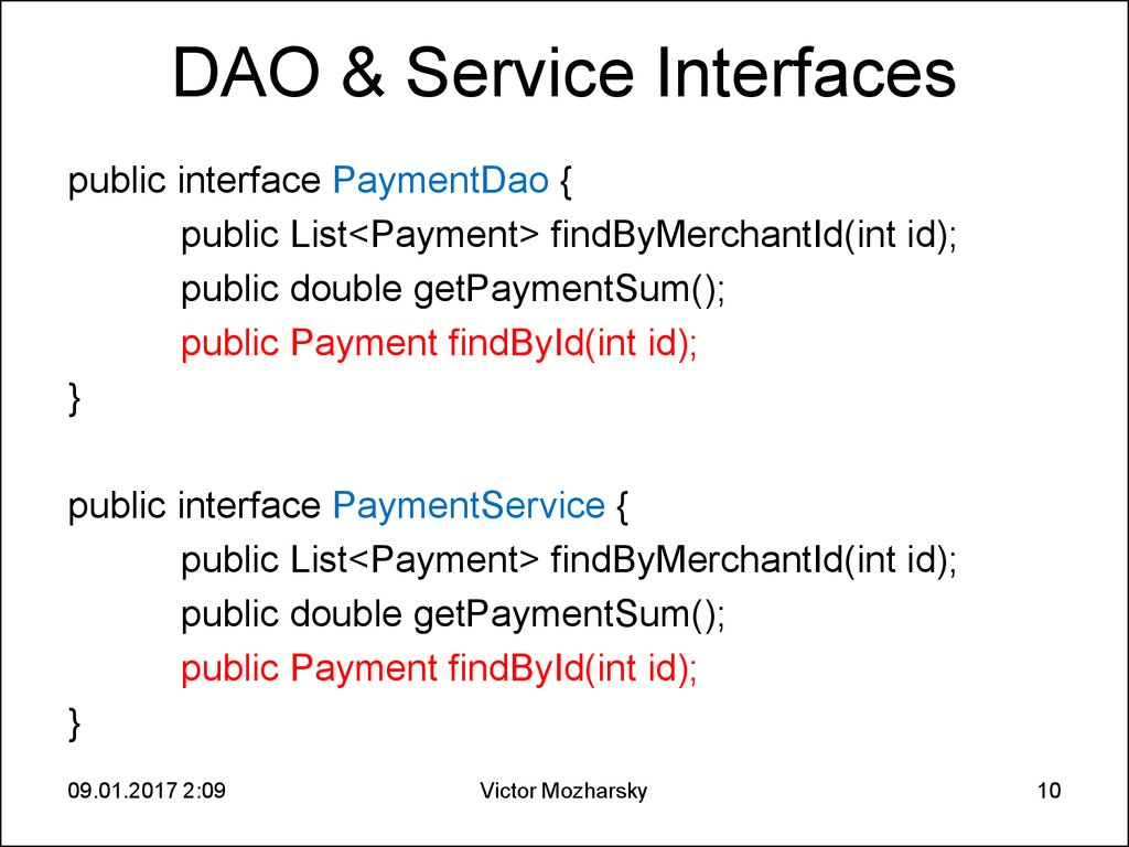 DAO & Service Interfaces
