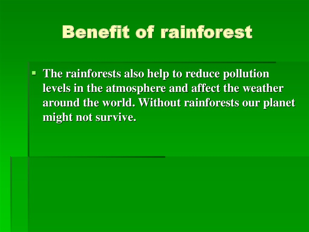 Benefit of rainforest