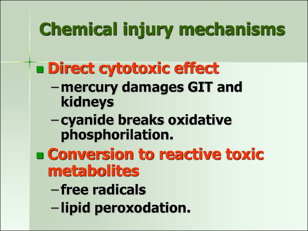 Chemical injury mechanisms