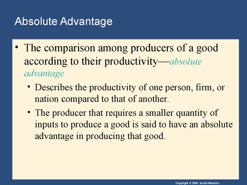 absolute advantage essay Comparative and absolute advantage essays: over 180,000 comparative and absolute advantage essays, comparative and absolute advantage term papers, comparative and absolute advantage research paper, book reports 184 990 essays, term and research papers available for unlimited access.