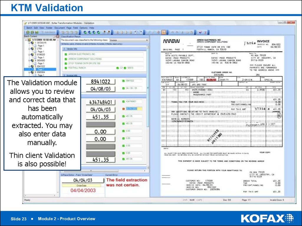 KTM Validation