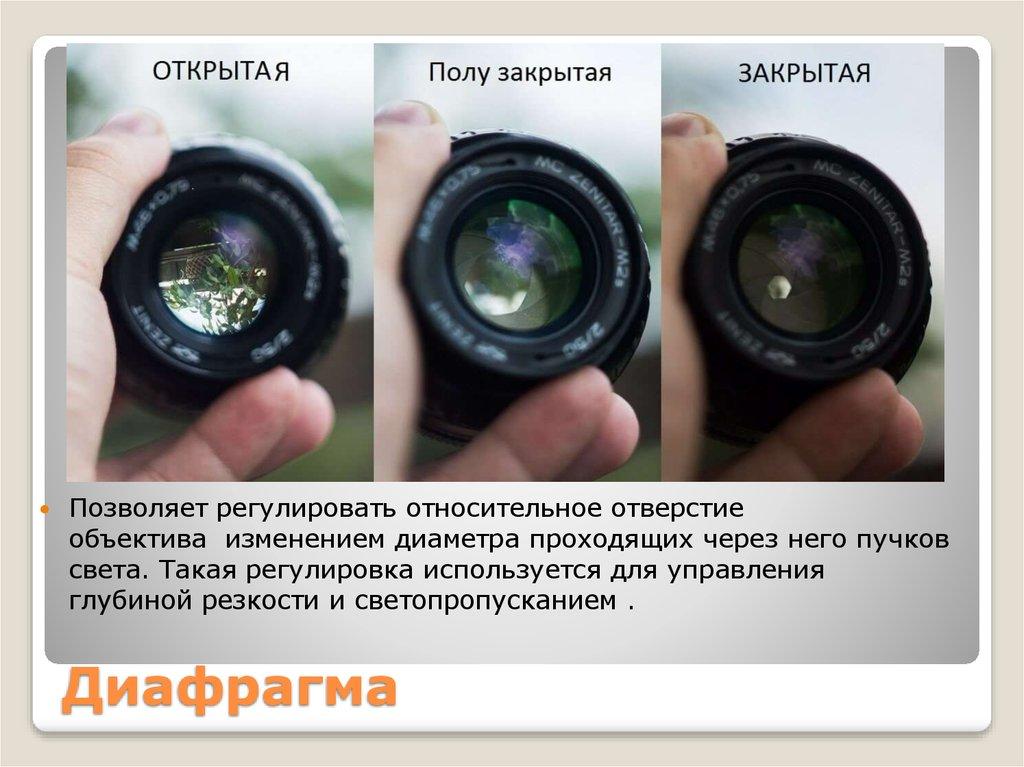 красный на что влияет диафрагма в фотоаппарате коробке