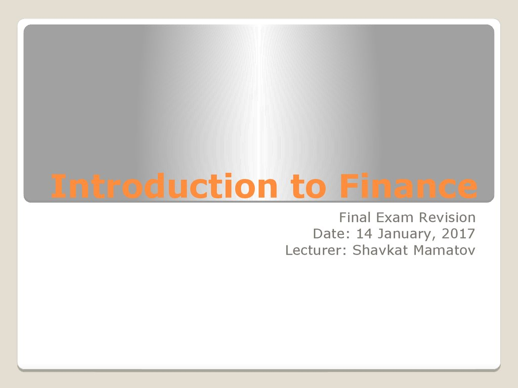 Introduction to Finance