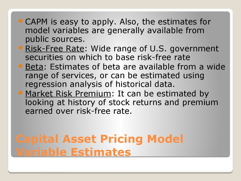 Capital Asset Pricing Model Variable Estimates