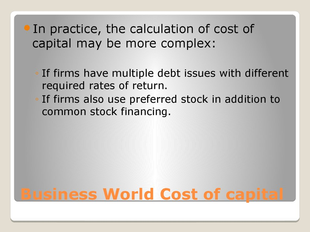 Business World Cost of capital