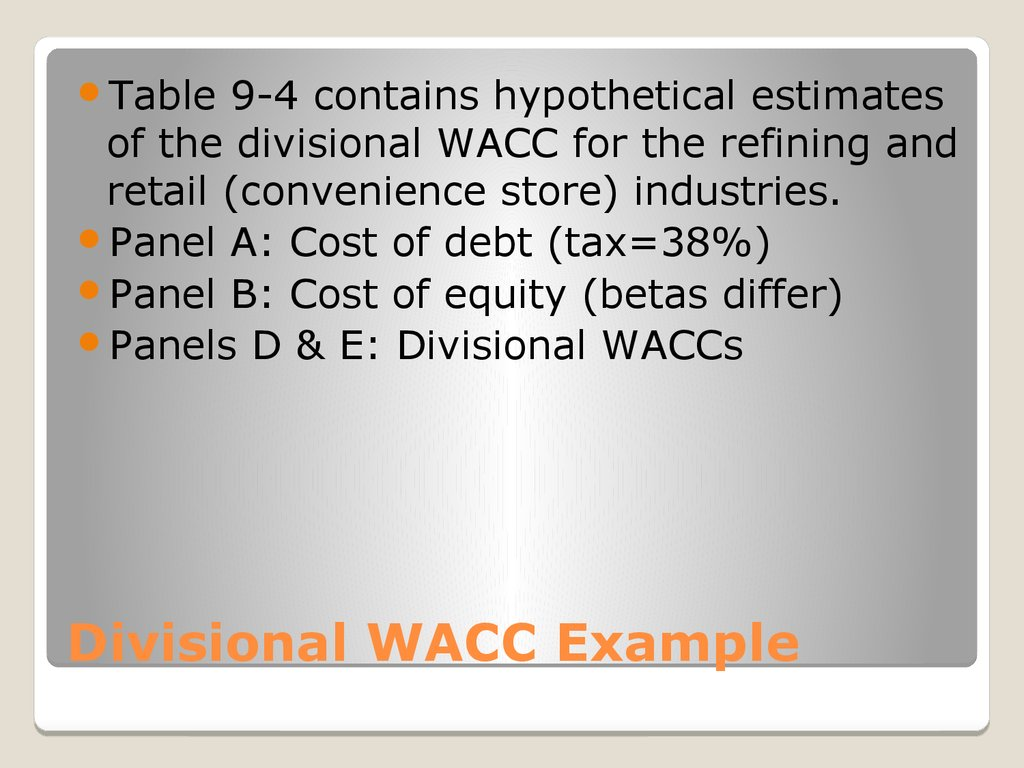 Divisional WACC Example
