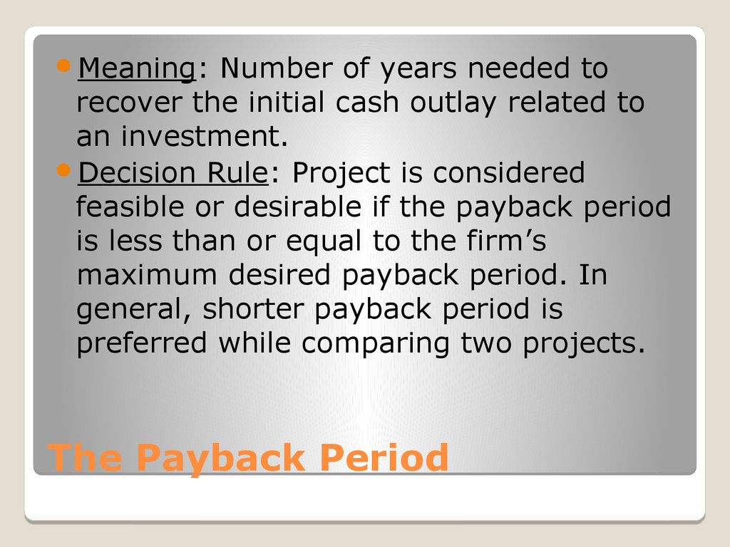 The Payback Period