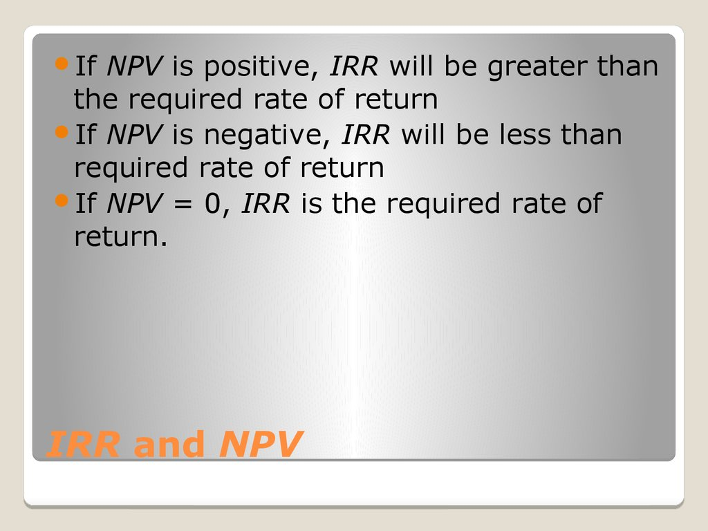 IRR and NPV