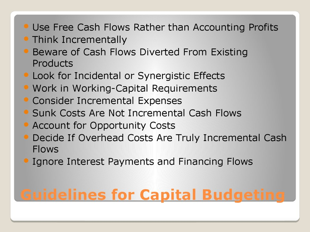 Guidelines for Capital Budgeting