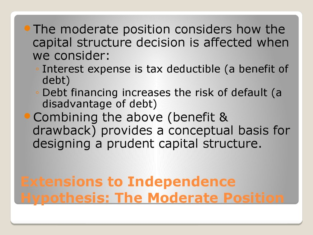 Extensions to Independence Hypothesis: The Moderate Position