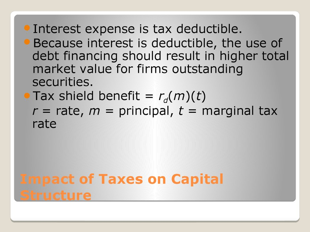 Impact of Taxes on Capital Structure
