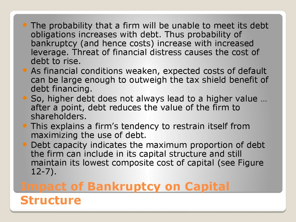 Impact of Bankruptcy on Capital Structure