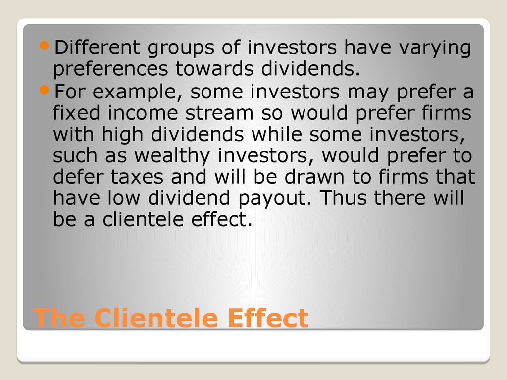 The Clientele Effect