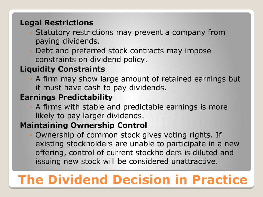 The Dividend Decision in Practice