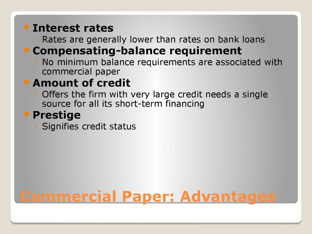 Commercial Paper: Advantages