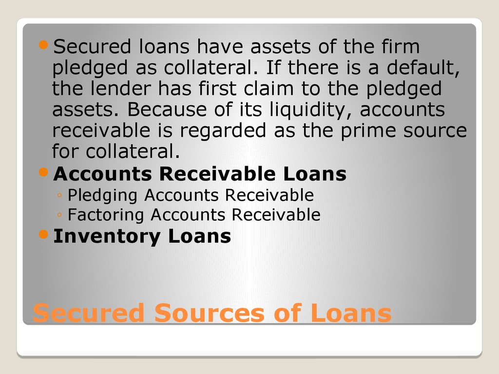 Secured Sources of Loans