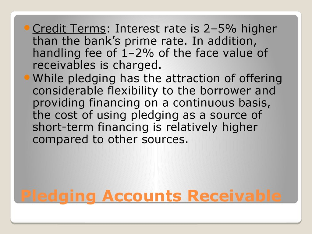 Pledging Accounts Receivable