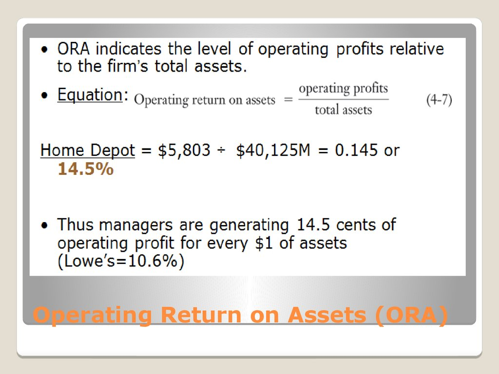 Operating Return on Assets (ORA)