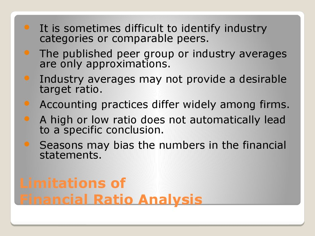 Limitations of Financial Ratio Analysis