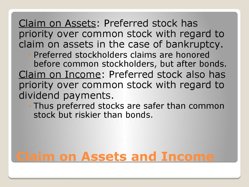 Claim on Assets and Income