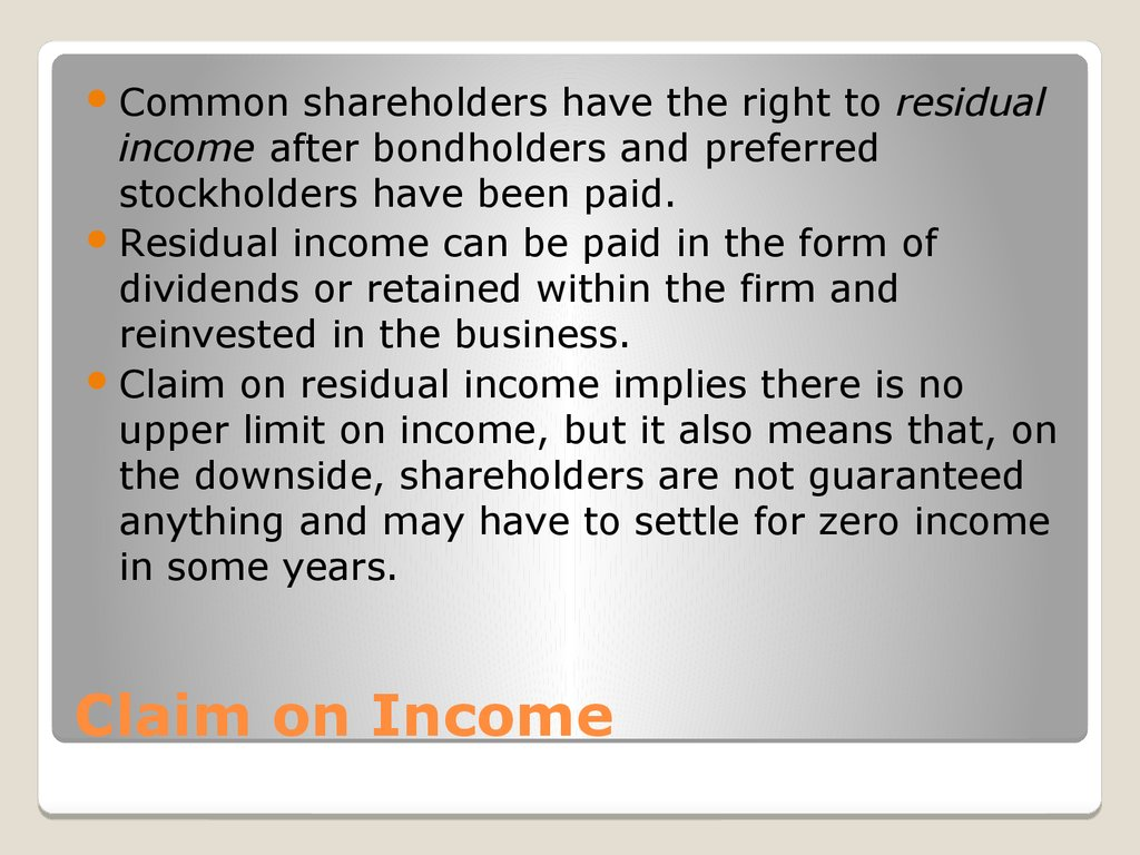 Claim on Income