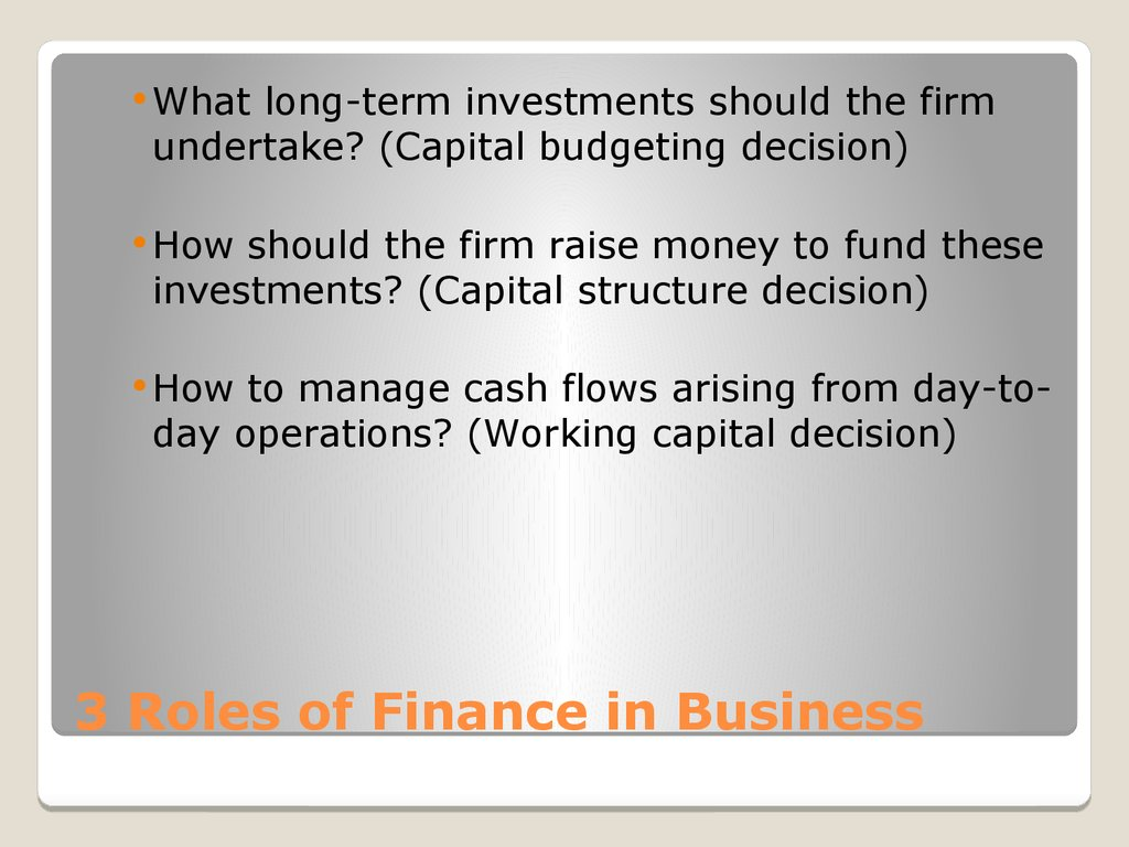 3 Roles of Finance in Business