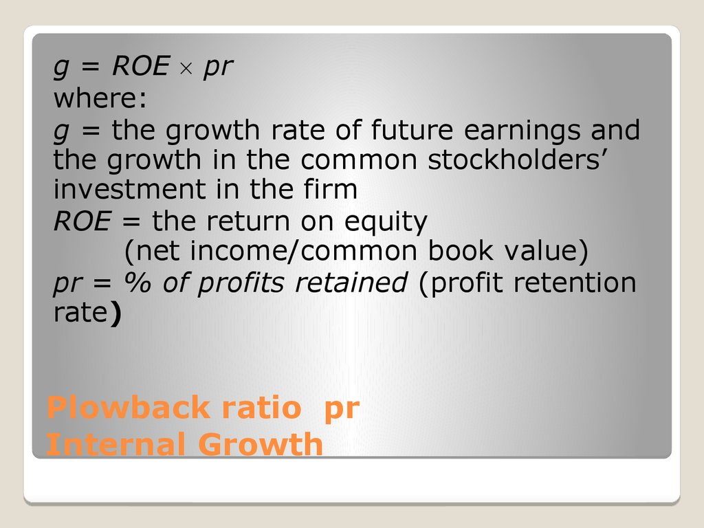Plowback ratio pr Internal Growth