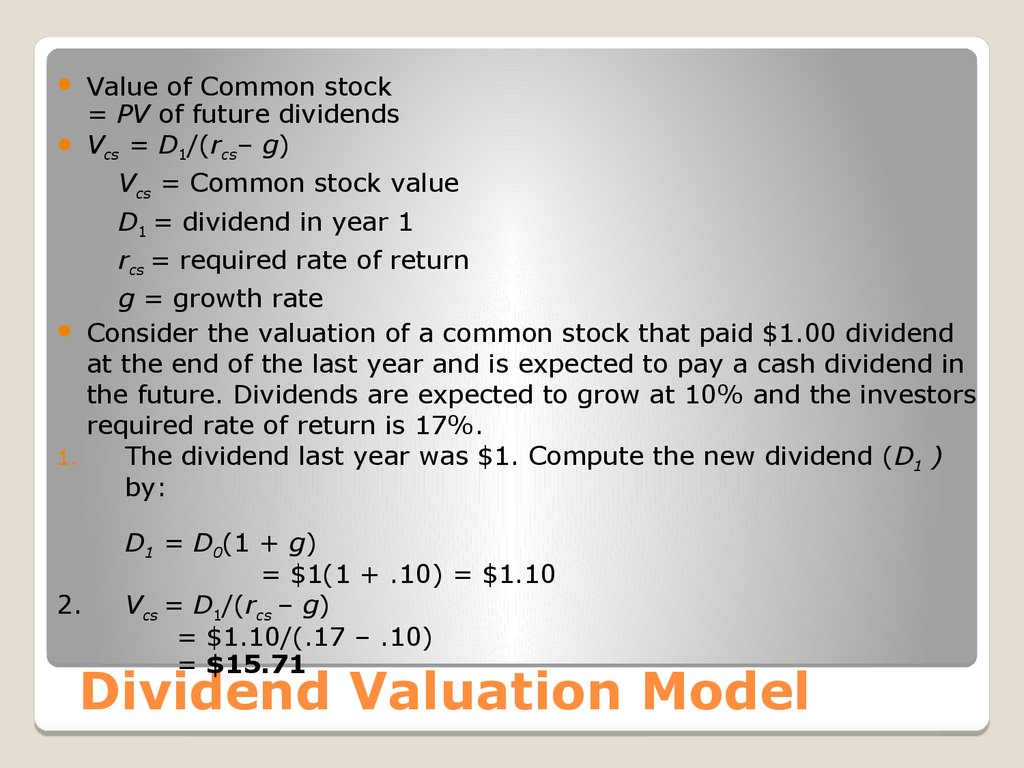 Dividend Valuation Model