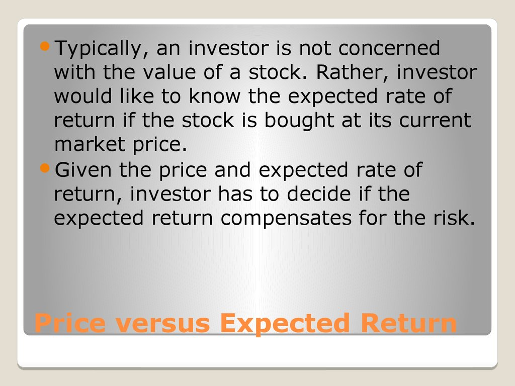 Price versus Expected Return