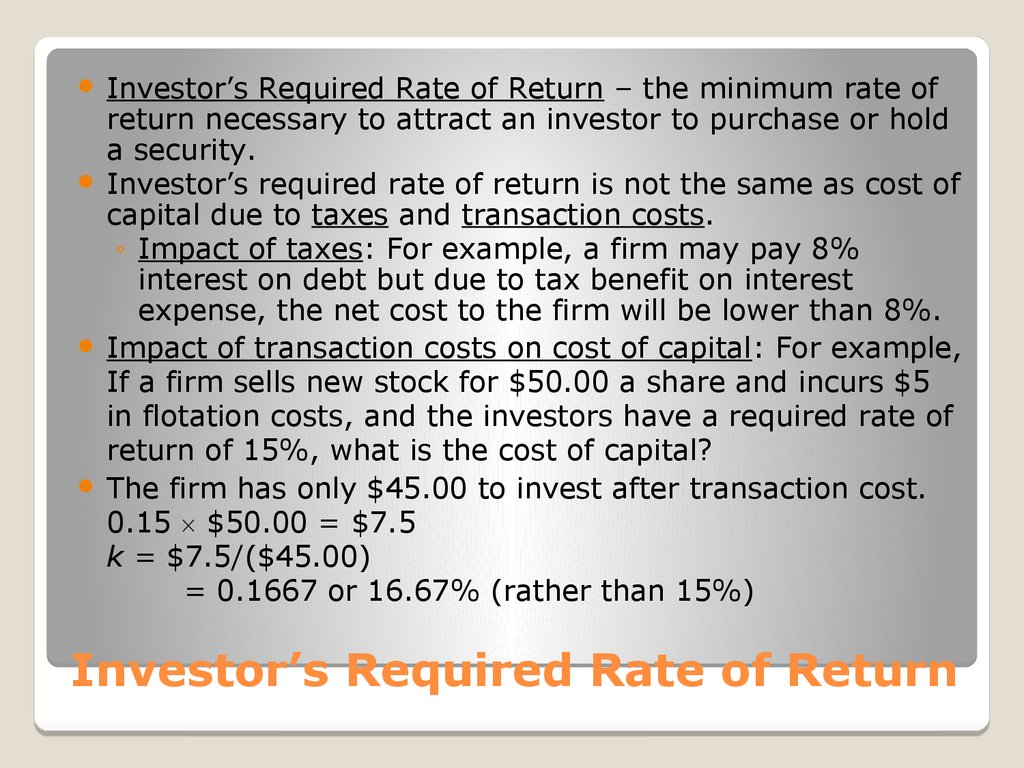 Investor's Required Rate of Return
