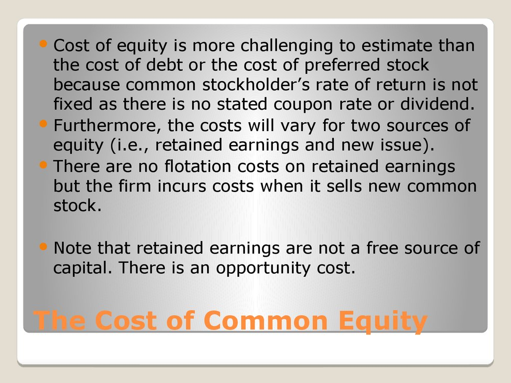 The Cost of Common Equity