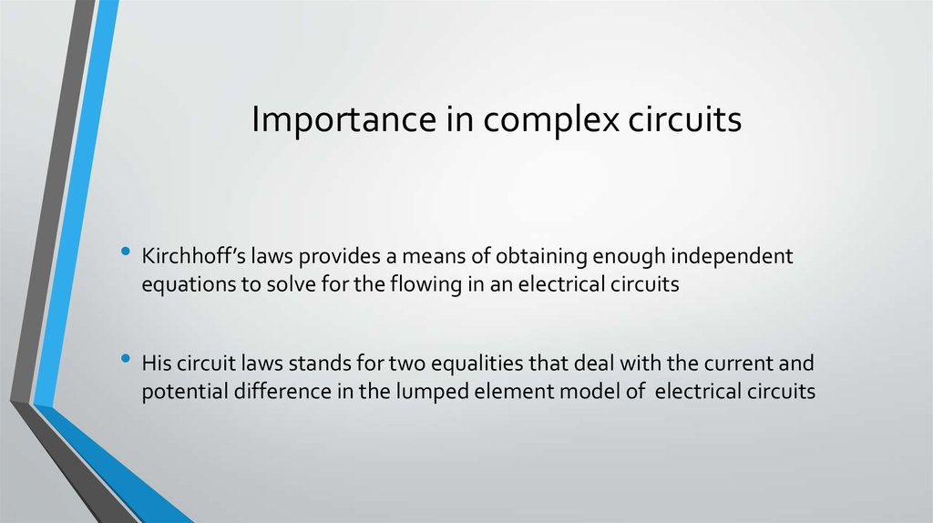 Kirchhoff\'s Laws for circuits - online presentation