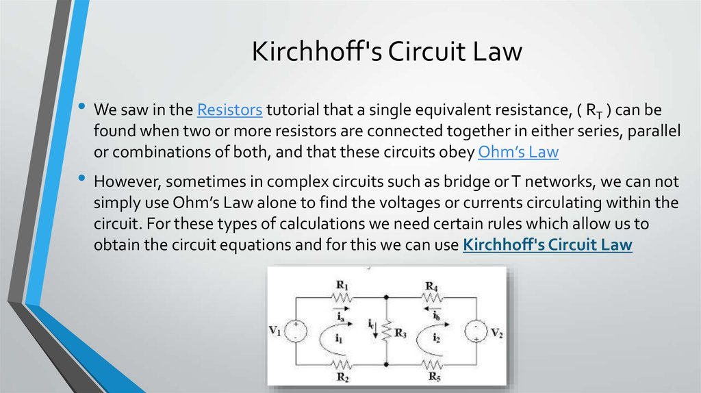 understanding dc circuit through ohms law and kirchhoffs rules Ohm's law & kirchhoff's circuit rules july 13 1993-2000 s lawsohm's law and kirchhoff's circuit rules july 13 73 prediction 1-1: what do you predict would happen to the brightness of the bulbs if you connected a second battery in series with the first at the same time you added the second.