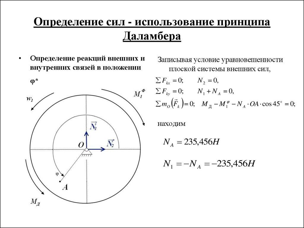 Курсовая работа по теоретической механике online presentation  Определение сил использование принципа Даламбера