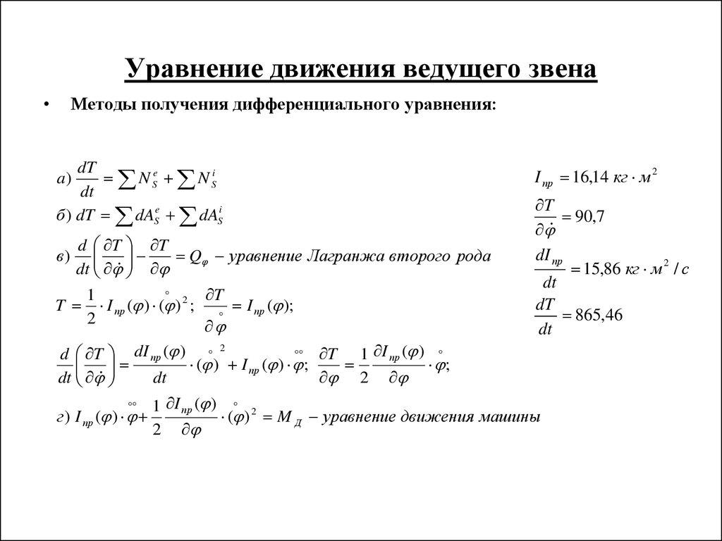 Курсовая работа по теоретической механике online presentation  Уравнение движения ведущего звена