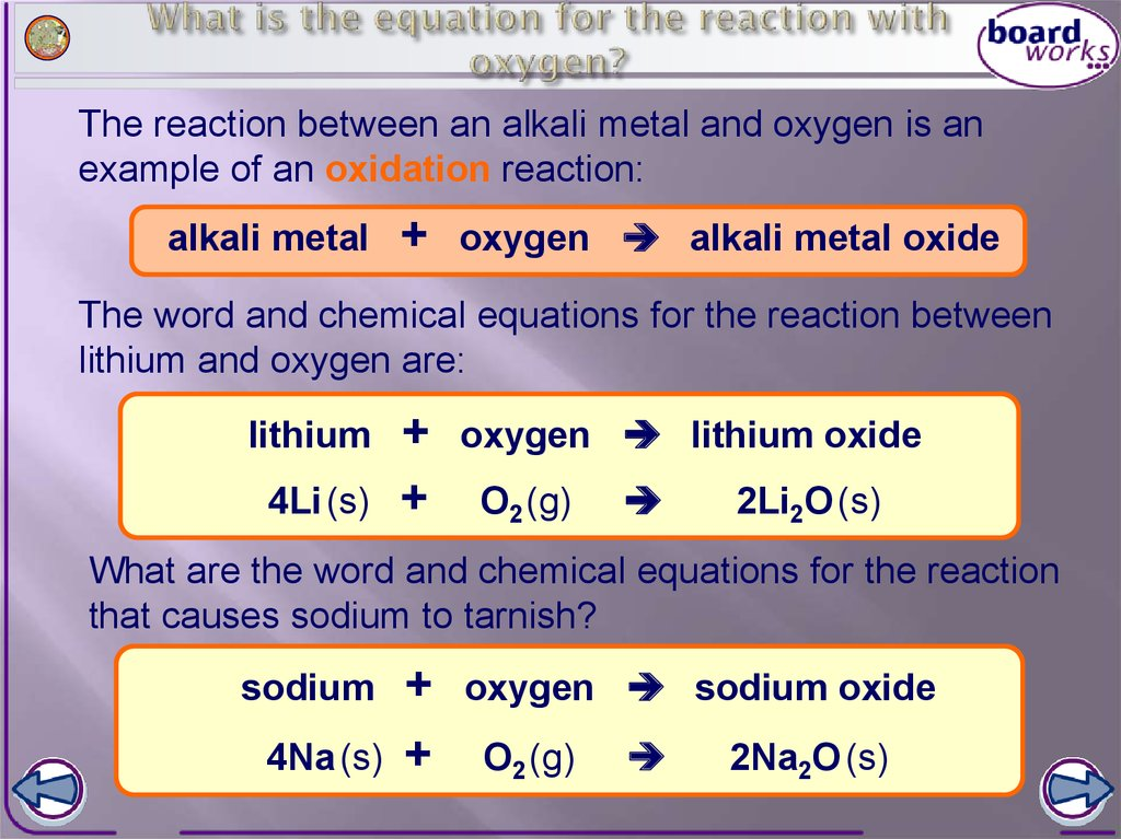 The alkali metals online presentation what is the equation for the reaction with oxygen urtaz Image collections