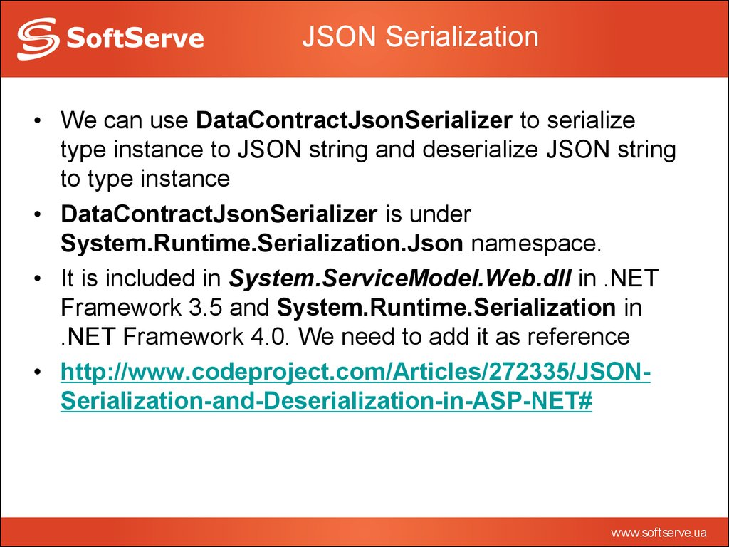 Introduction to serialization - online presentation