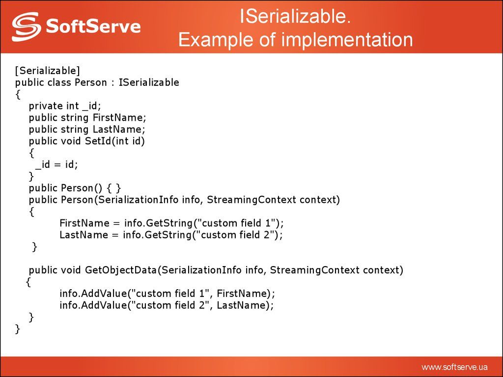 Introduction To Serialization Online Presentation
