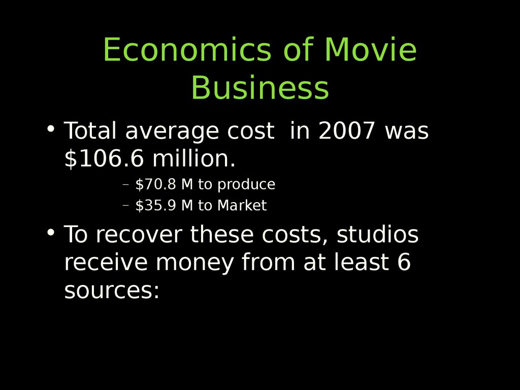 Economics of Movie Business