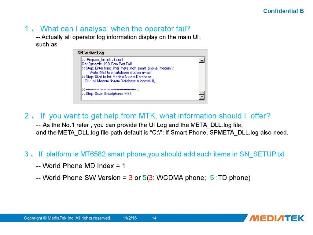 Usage to MTK SN_STATION Tool - online presentation