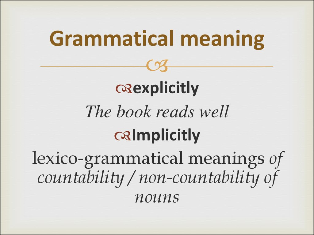 Grammatical meaning