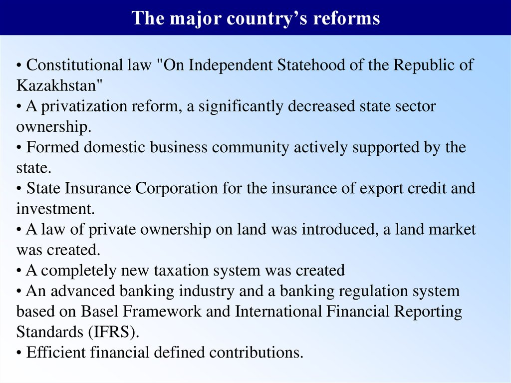 The major country's reforms